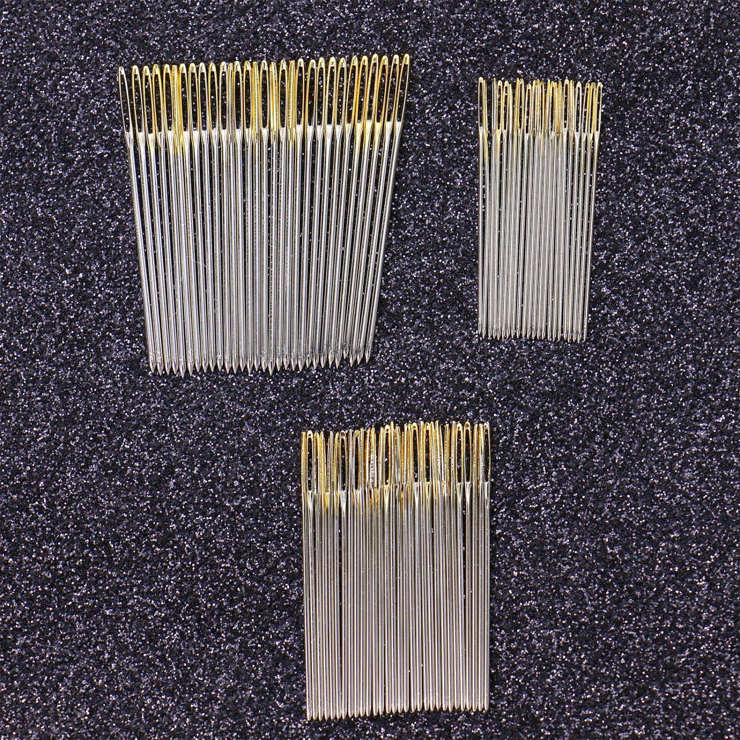 Monrocco 90 pcs Large-Eye Hand Sewing Needles for Sewing Repair 3 Sizes with 2 Threaders