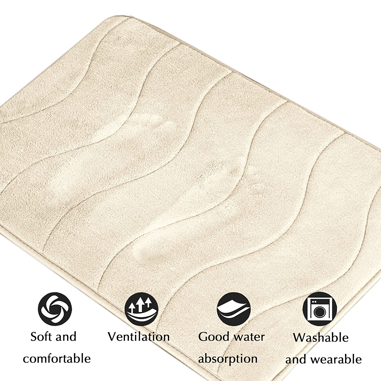 Soft Non Slip Absorbent Bath Rugs, Memory Foam Bath Mats by FlamingoP (Ivory