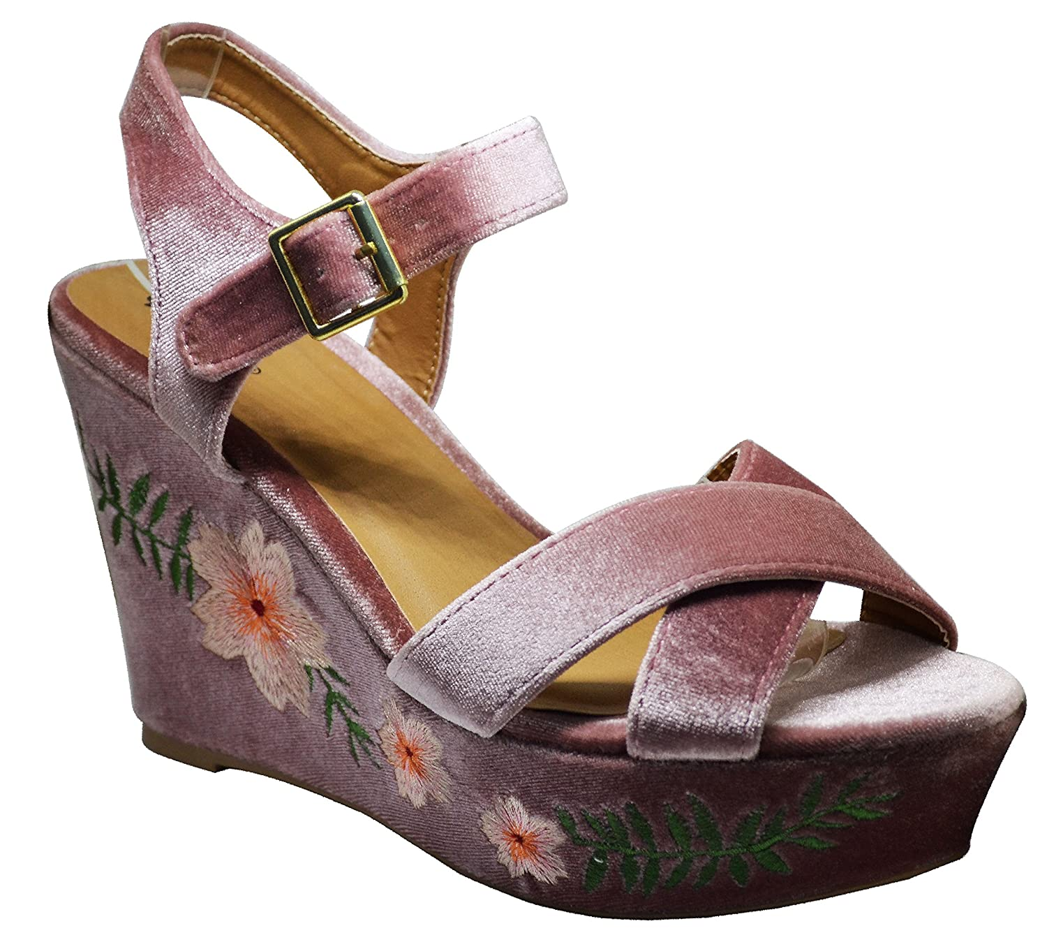 2e0cd0b617 Amazon.com | Qupid Ardor-140 Womens Embroidered Floral Accent Wedges Blush  Velvet Size 7 | Sandals