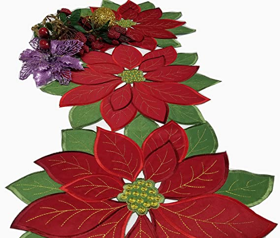 a561c7dbe Amazon.com: Holiday Christmas Applique Poinsettia Red Green Embroidered  Christmas Flower Table Runner for Home Dinner Xmas Table Top Decorations ...