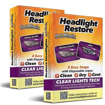 CLT Car Headlight Restoration Kit, Headlight Restorer Wipes (2): Automotive