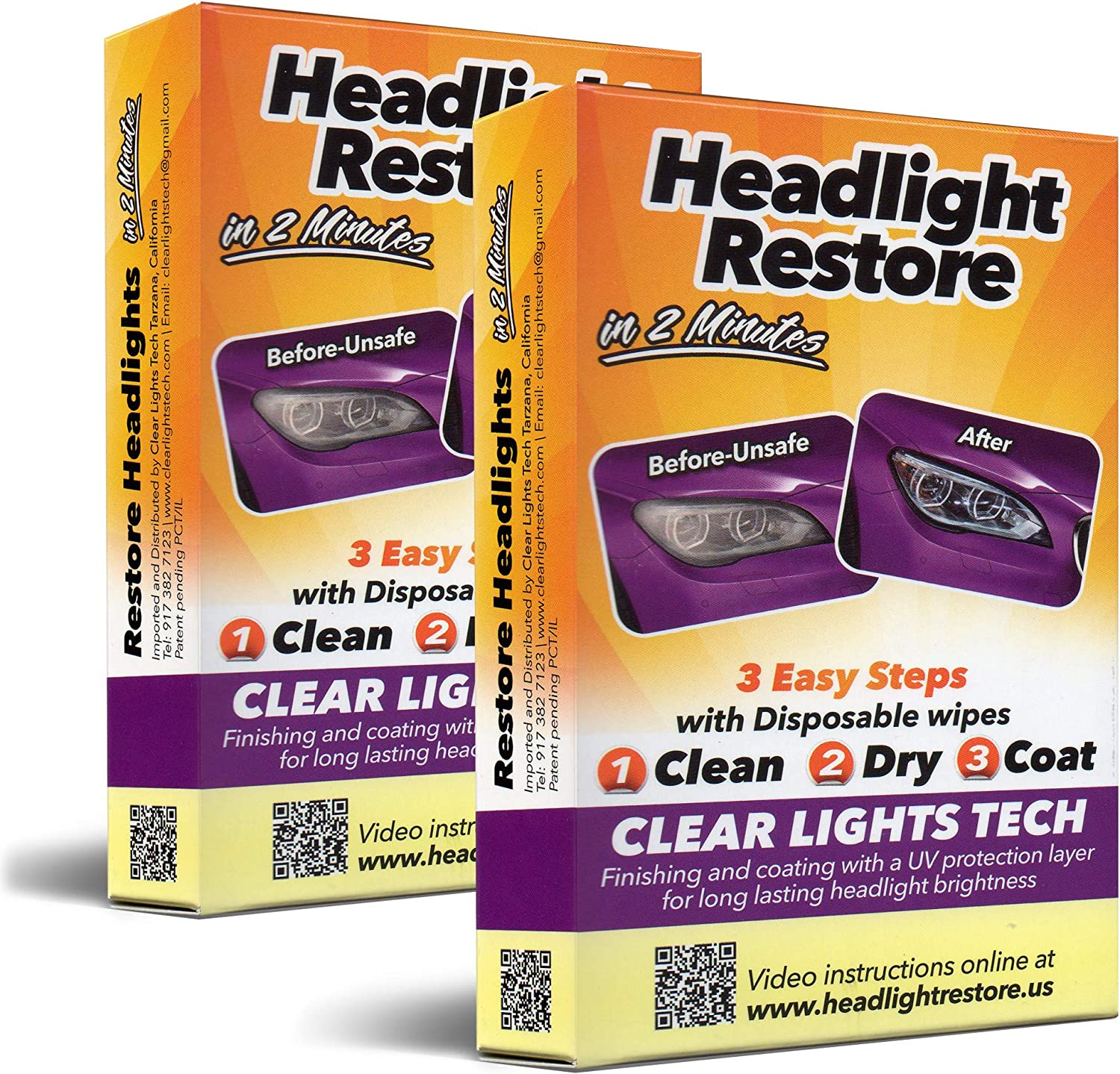 CLT Car Headlight Restoration Kit, Headlight Restorer Wipes (2) 91WghU40KFL