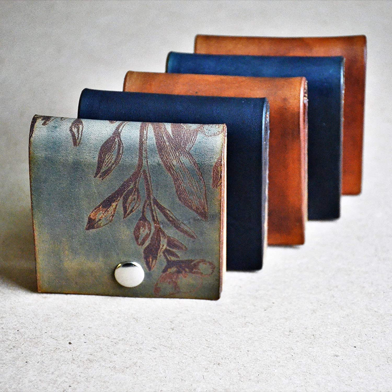 Amazon.com: Square Business Card Wallet//Holder Case//Oiled ...