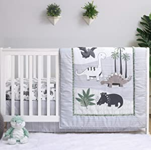 The Peanutshell Dinosaur Crib Bedding Sets for Boys | 3 Piece Nursery Set | Crib Comforter, Fitted Crib Sheet, Crib Skirt Included
