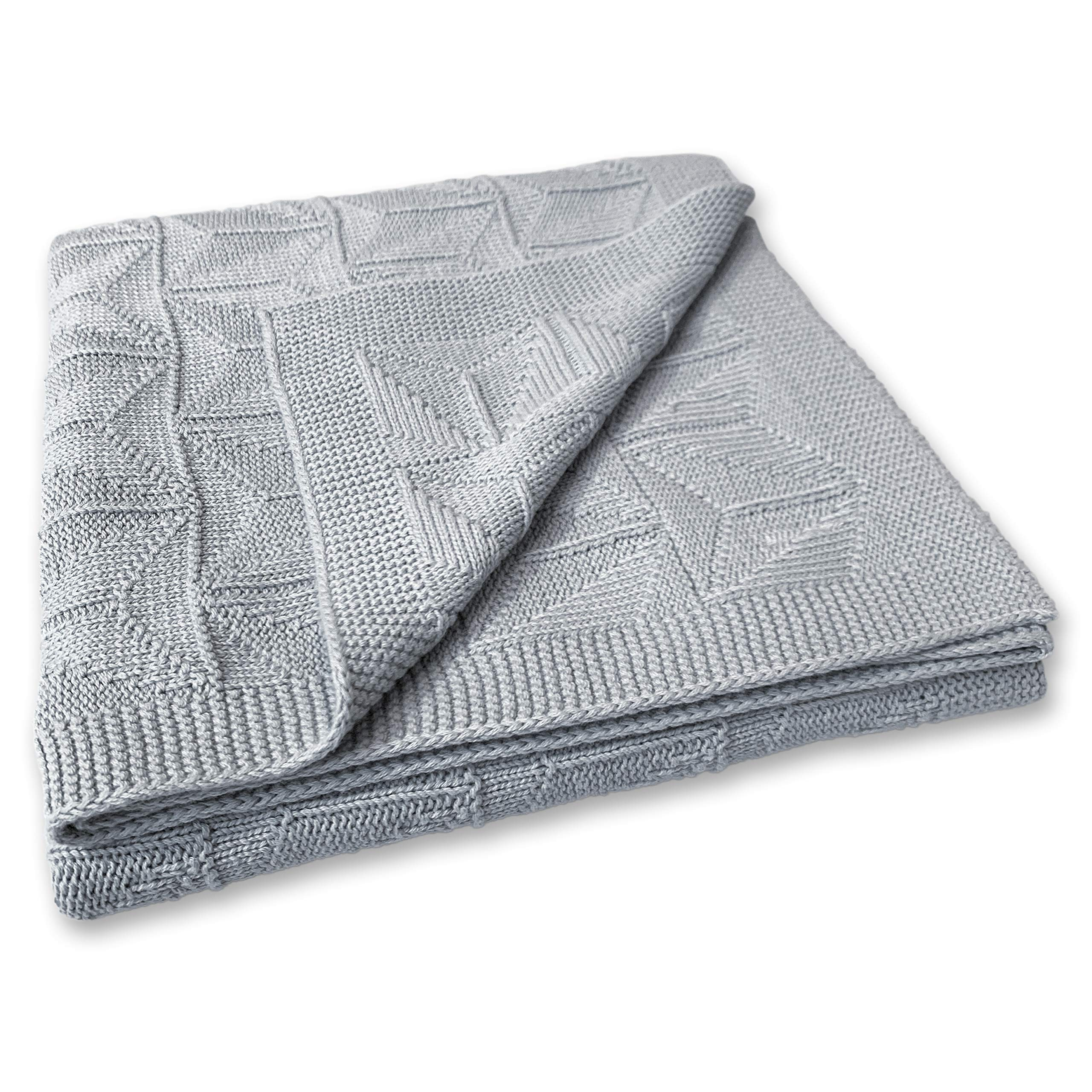 Zeke and Zoey Soft 100% Cotton Knit Grey Baby Blanket for Girls or Boys - Unisex, for Infant, Newborn, Toddler and Kids for Crib, Stroller, car, Receiving or Swaddle Blanket by Zeke and Zoey