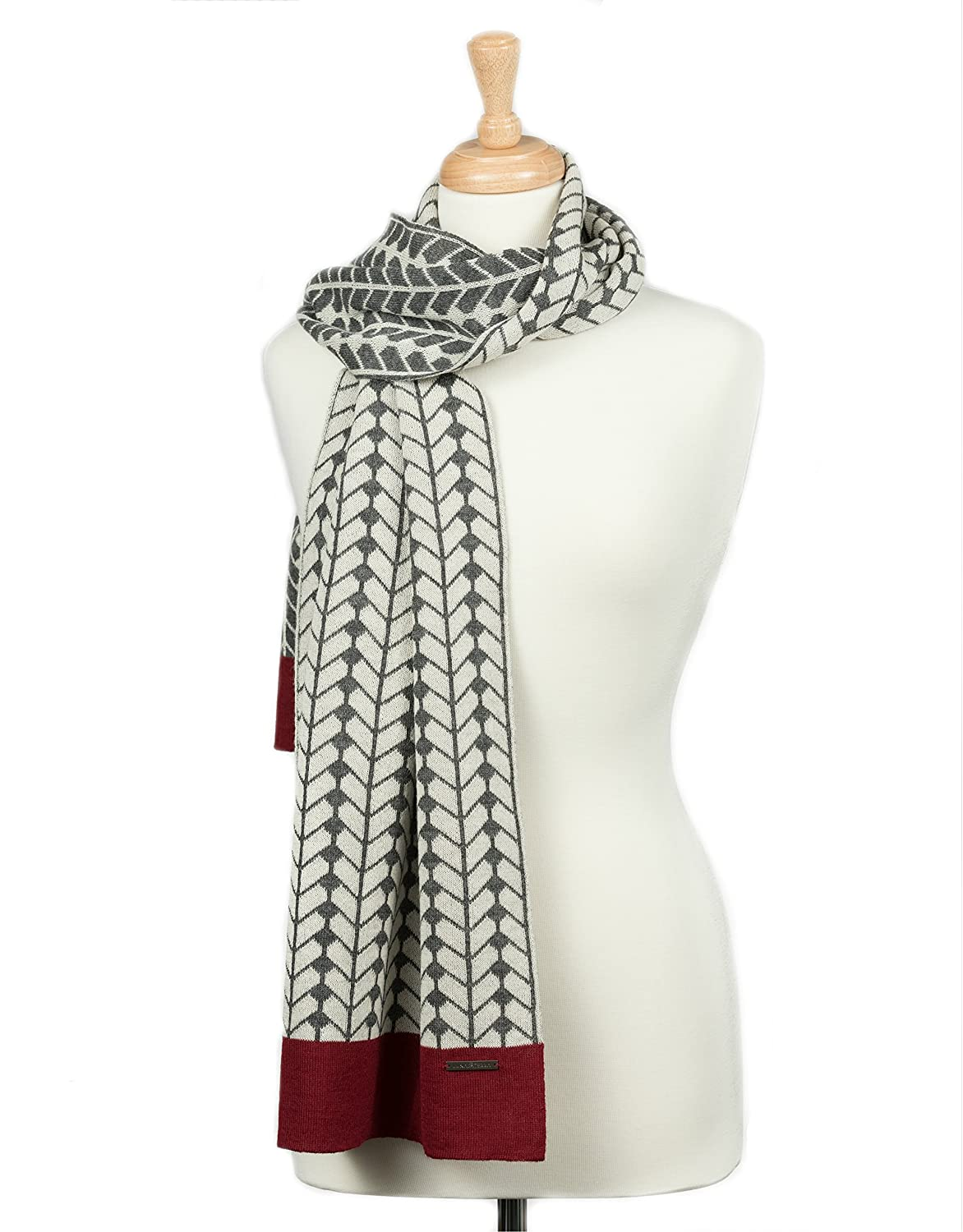 TORINO Handmade Knitted 100% Baby Alpaca Wrap Scarf for Women (Oxford Grey/Ivory/Red)