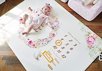 Blessings in Bloom Monthly Milestone Baby Mat Photo Background mat Baby Tummy Time for Infant Boy Girl Unisex Maternity Gift Baby Care Milestone Play Mat