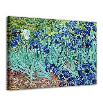 Wandbild Vincent Van Gogh Iris 50x40cm quer Alte Meister Berühmte Gemälde Leinwandbild Kunstdruck Bild auf Leinwand