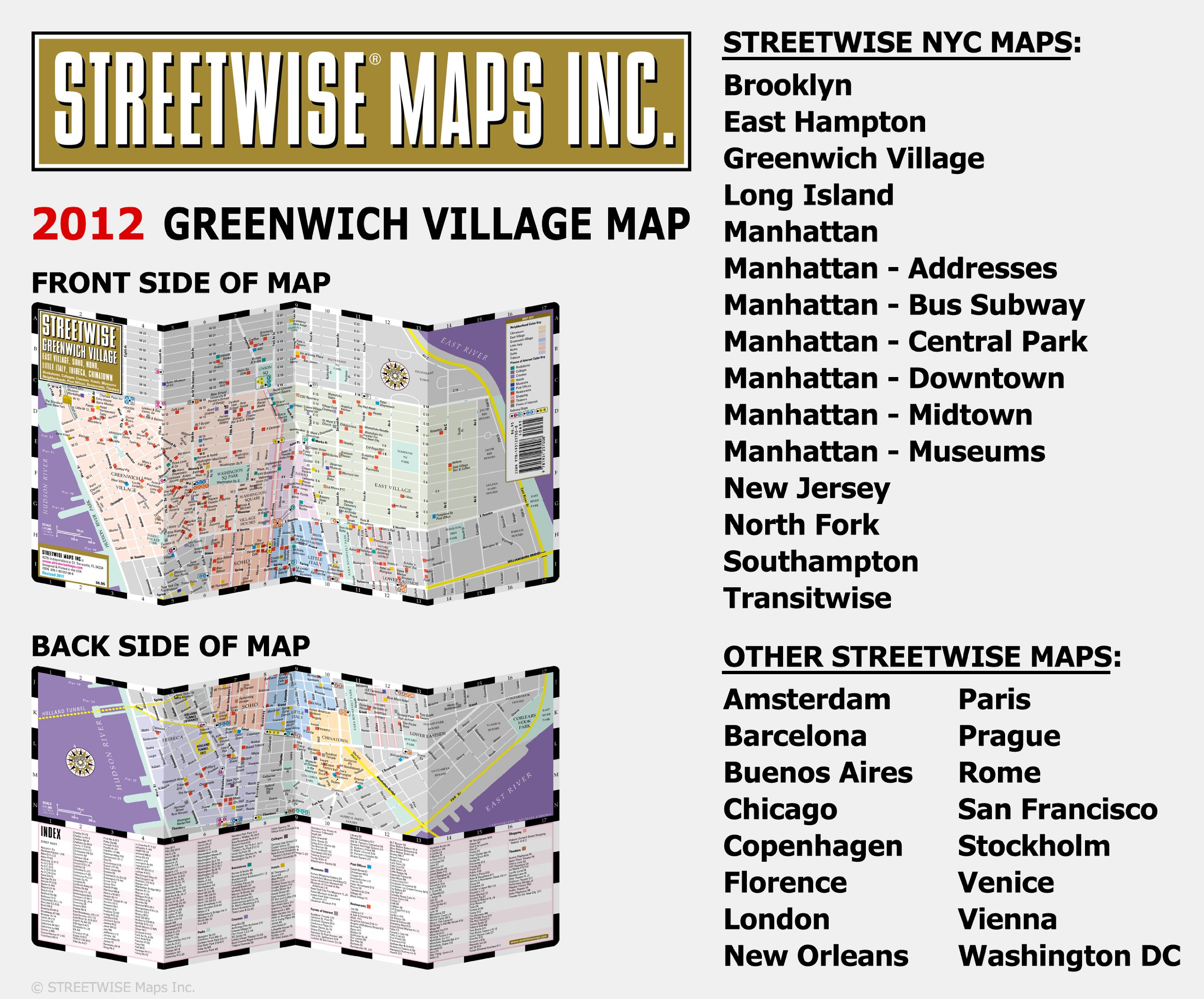 streetwise greenwich village map laminated city street map of