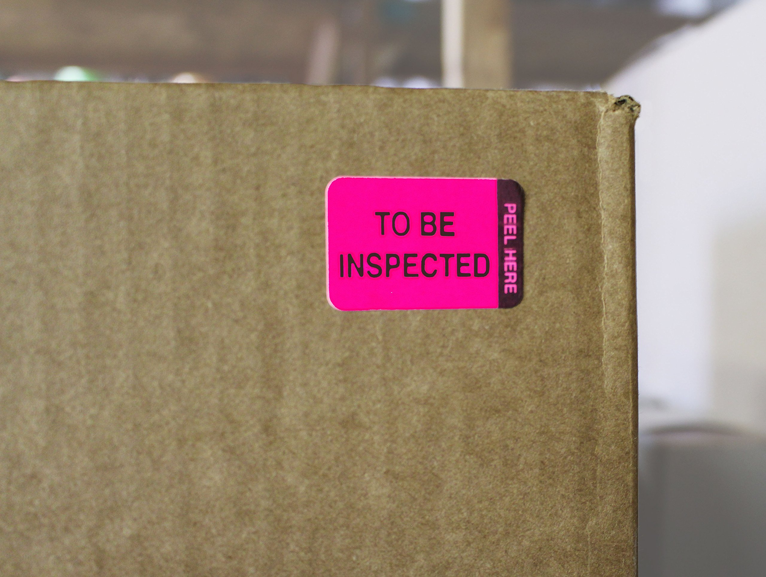 ChromaLabel 1 x 1-1/2 inch Fluorescent Pink/Yellow Double Layer QC Label | 'To Be Inspected/Inspected' Imprint | 250/Dispenser Box by ChromaLabel (Image #3)