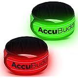 AccuBuddy LED Armband, Helles Jogging Licht und reflektierendes Leuchtarmband für mehr Sicherheit im Dunkeln, 2er Set