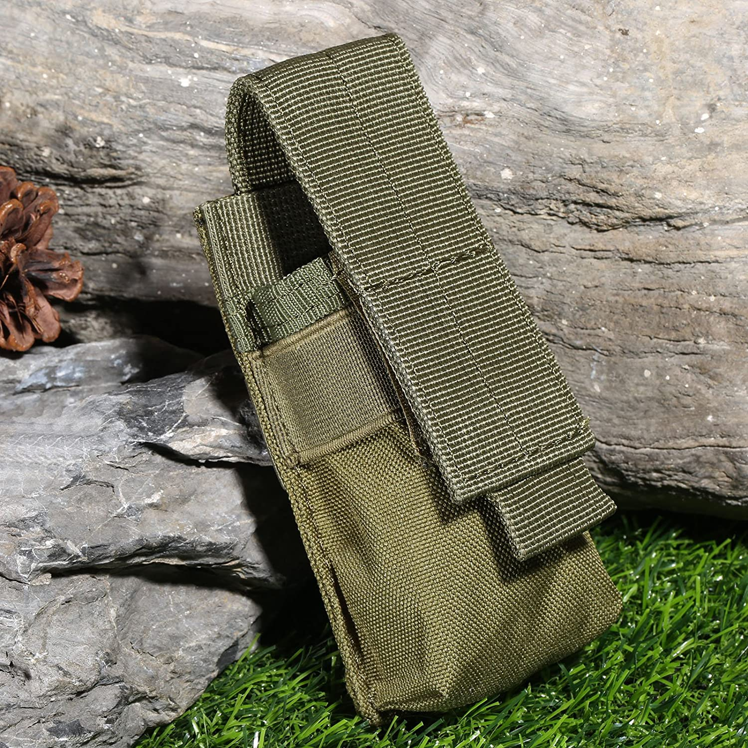 Outdoor Tactical Flashlight Mini Bag Army Fans Molle Equipment Single Magazine Mag Pouch For Vest Rucksacks-Black