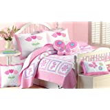 Cozy Line Home Fashions Butterfly Tulip Flower Orchid Green Pink Quilt Bedding Set, 2 - piece Print Pattern Bedspread, Coverlet, 100 % Cotton, Gifts for Girl Kids (Twin Set)