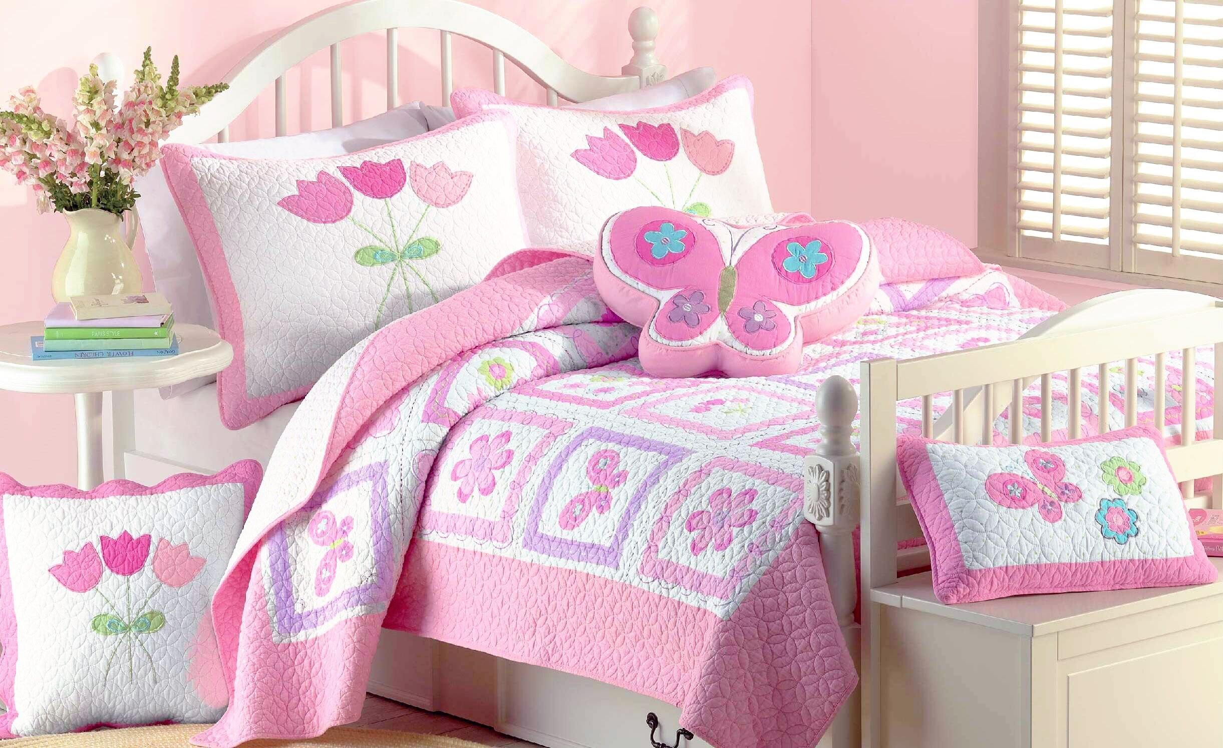 Cozy Line Home Fashions 4 - piece Quilt Bedding Set, Butterfly Tulip Flower Bedspread, Coverlet, 100 % Cotton, Gifts for Girl Kids (Twin - 4pc: 1 quilt + 1 sham + 2 Decorative Pillows) by Cozy Line Home Fashions