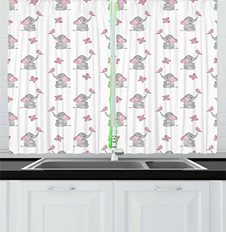 Elephant Nursery Decor Kitchen Curtains By Ambesonne Baby Elephants Playing With Butterflies Lovely Kids Room