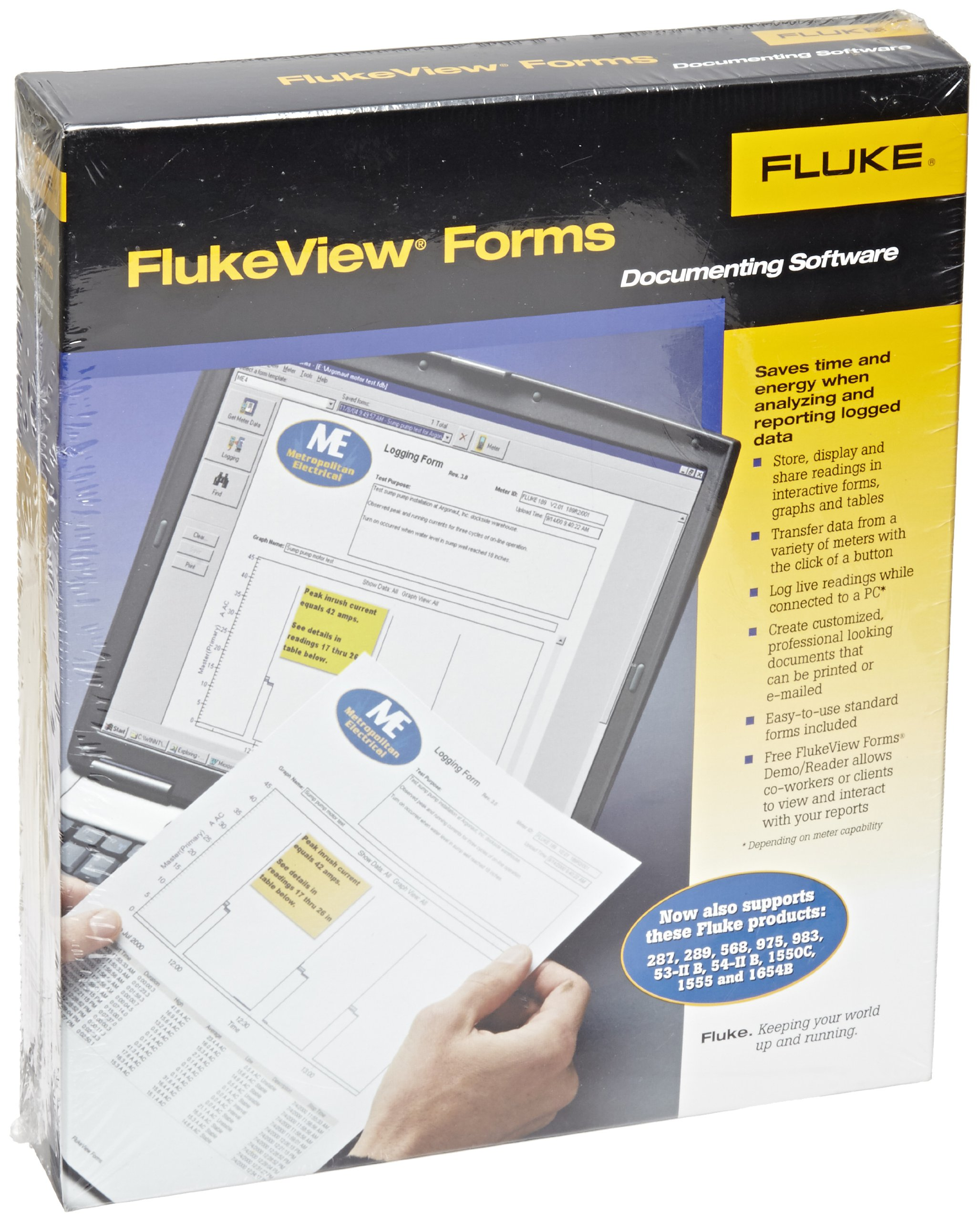 Fluke FVF-BASIC FlukeView Forms Basic Software with Cable for 280 Series, 180 Series, 789, 1653B and 1550B