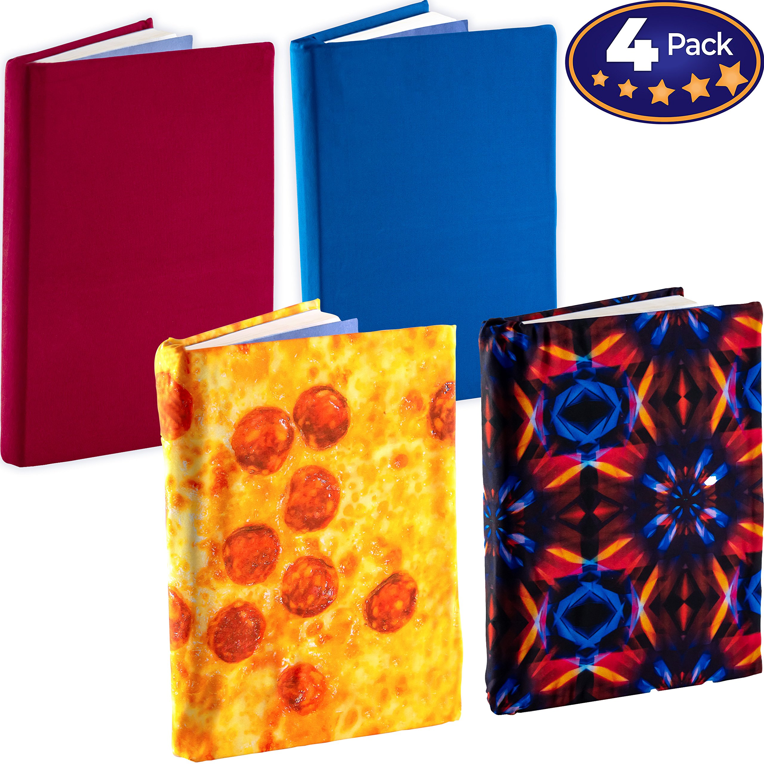 Jumbo, Stretchable Book Cover Color 4 Pack. Fits Most Hardcover Textbooks up to 9 x 11. Adhesive-Free, Nylon Fabric Protectors are A Needed School Supply for Students. (Neutral 2)