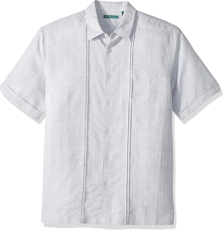 Cubavera Mens Short Sleeve Linen-Blend Textured Button-Down Shirt with Pocket