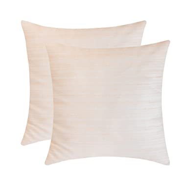 The White Petals Cream Throw Pillow Covers - Luxurious, Elegant & Decorative (18x18 inch, Pack of 2)