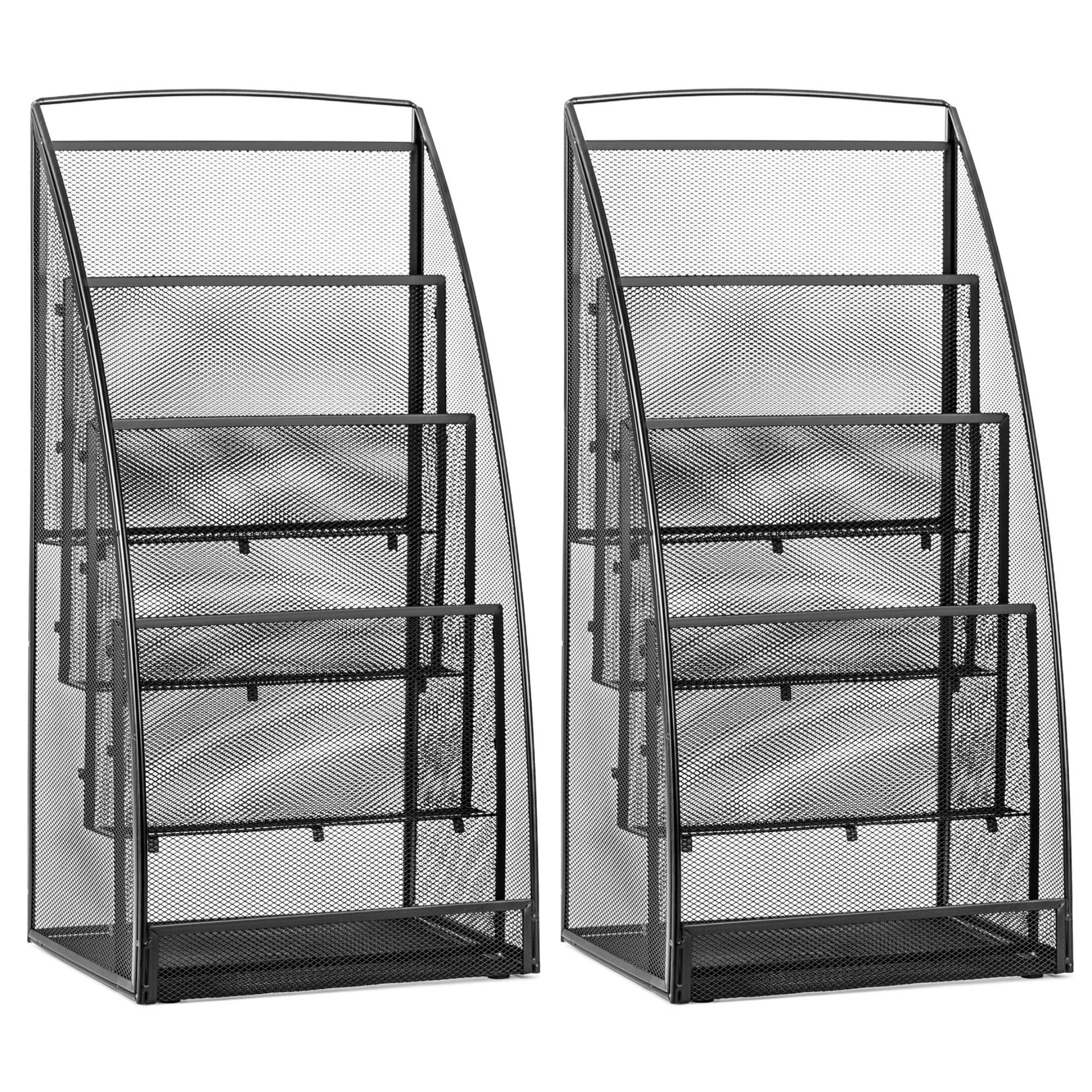 Halter Steel Mesh Magazine Rack/Literature Rack - 4 Pocket - Black - 2 Pack
