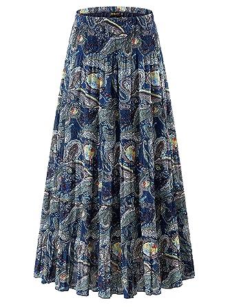 52a1d2dbce NASHALYLY Women's Chiffon Elastic High Waist Pleated A-Line Flared Maxi  Skirts (S,