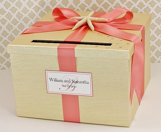 Amazon.com: Beach Theme Wedding Card Box Money Holder Champagne Gold ...