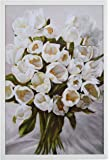 "Amazon Brand – Stone & Beam Contemporary White Tulip Bouquet Print in White Wood Frame, 18"" x 26"""