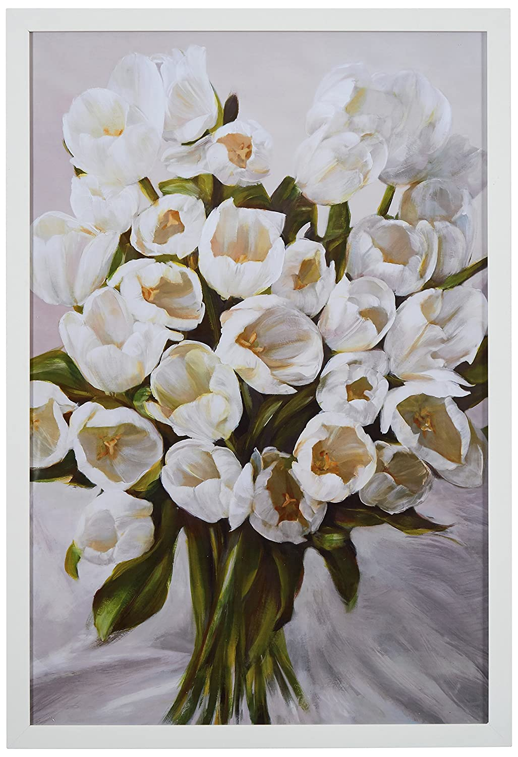 "Contemporary White Tulip Bouquet Print in White Wood Frame, 18"" x 26"""