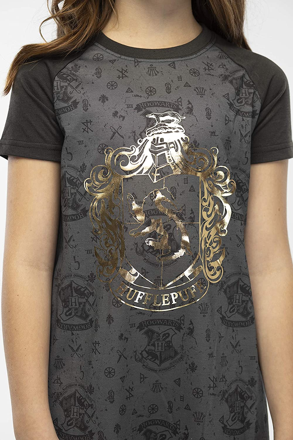 INTIMO Harry Potter Girls Foil Print Hogwarts Houses Short Sleeve Raglan Nightgown All 4 Houses Available
