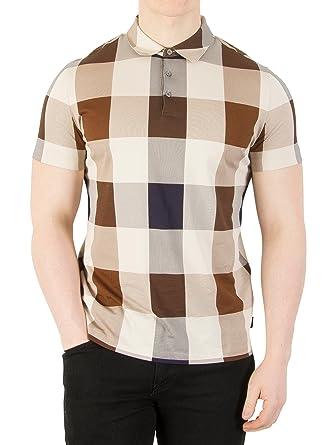 Aquascutum Cody Club Check Short Sleeved Polo SMALL VICUNA: Amazon ...