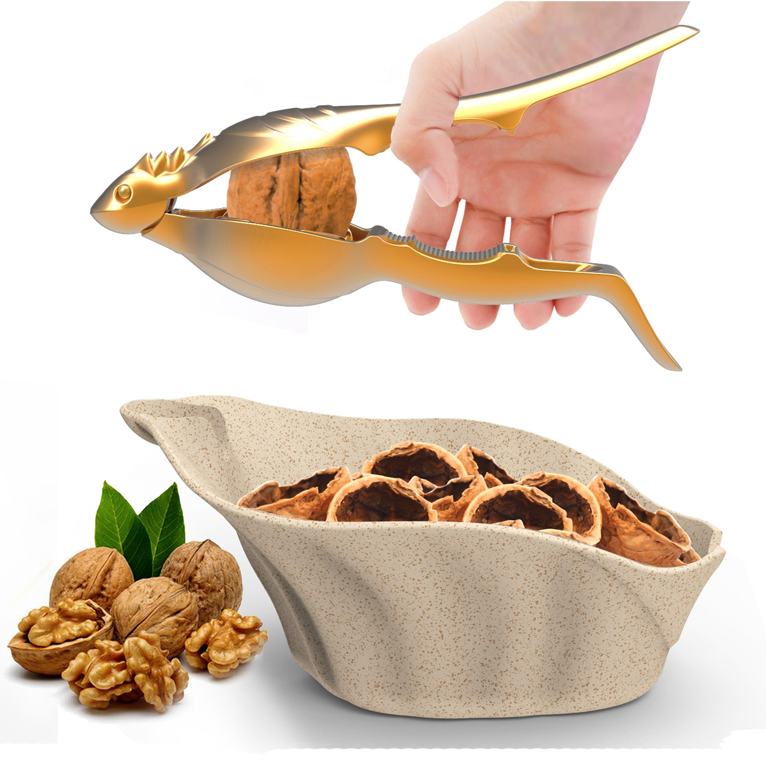 SELEWARE Innovative Universal Heavy Duty Lizard Nut Cracker Container Set, Pecan Walnut Plier Opener Tool with Non-slip Handle, Golden