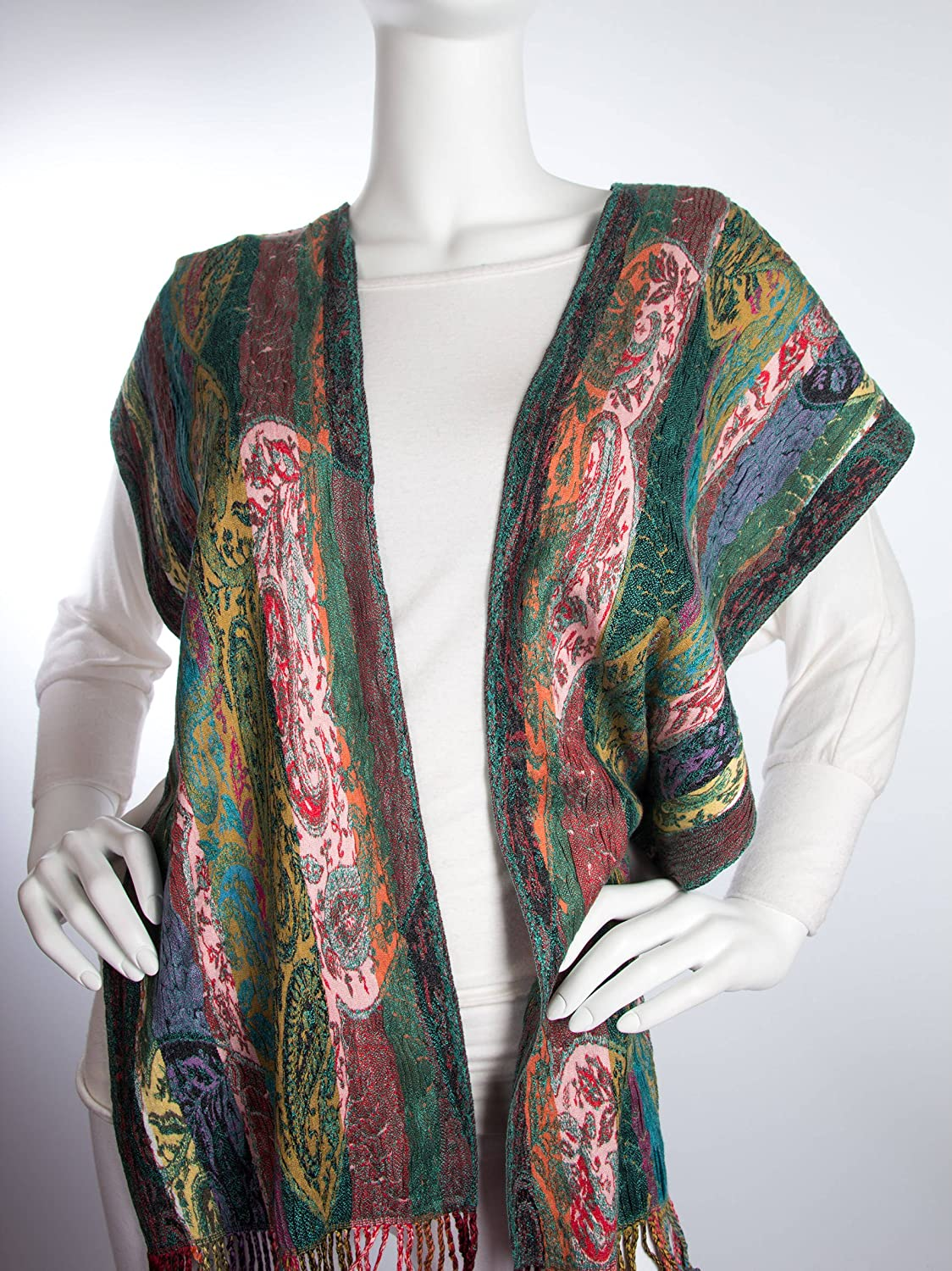 70s Jackets, Furs, Vests, Ponchos Bohomonde Elina Scarf Striped Woven Paisley Pashmina Scarf Hand Made in India $26.95 AT vintagedancer.com
