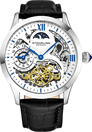 e8cc645f3 Stührling Original Mens Stainless Steel Automatic Watch, White Skeleton  Dial, Blue Accents Dual Time