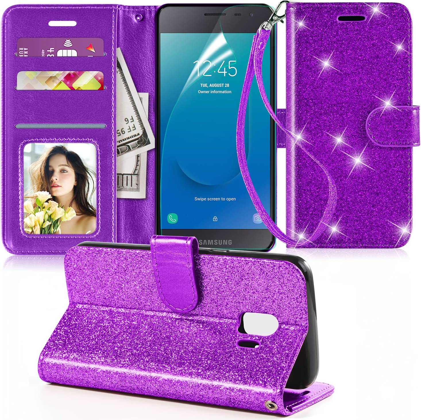 Case for Samsung Galaxy J2,J2 Core Case,J2 Dash Case,J2 Pure Case W/Wrist Strap&Screen Protector&Kickstand&Credit Card Slots,PU Leather Bling Glitter Flip Wallet Case Cover for Girls Women,Purple