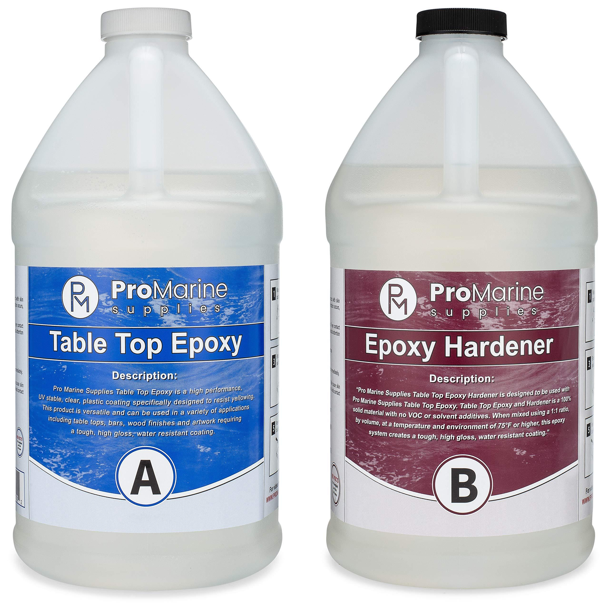 Crystal Clear Bar Table Top Epoxy Resin Coating for Wood Tabletop - 2 Gallon Kit by Pro Marine Supplies
