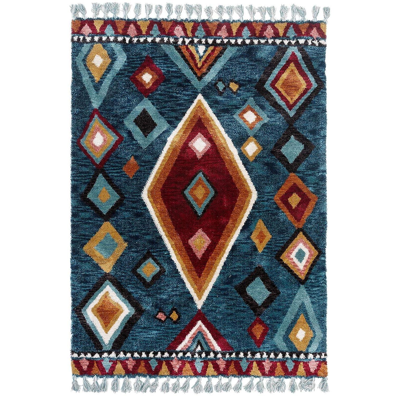 Taleta Designer Kurzflor Teppich Geometrischen Muster mit Fransen für Wohnzimmer, Mehrfarbig Petrol Orange, Größe  120x170cm