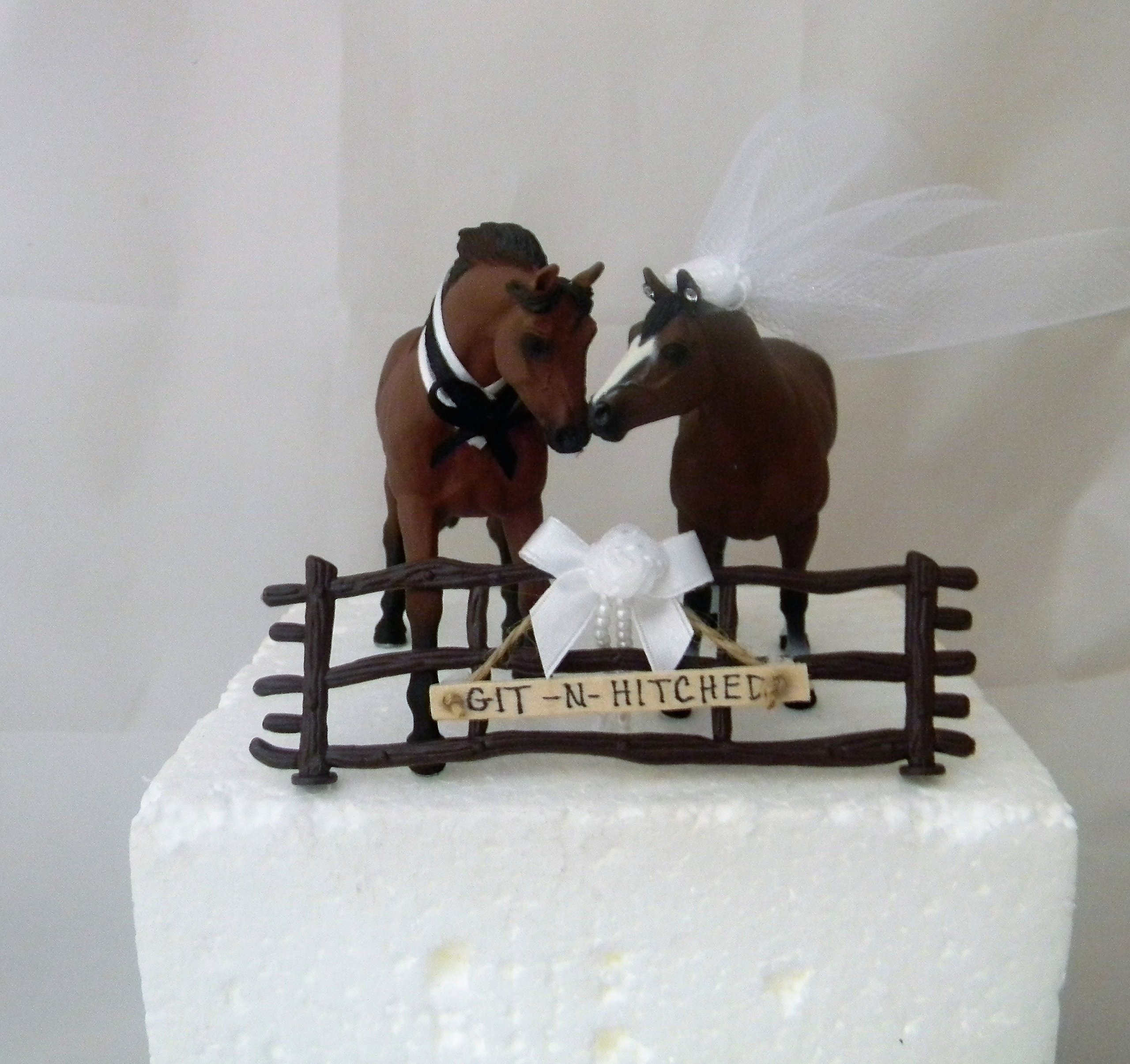 Wedding Reception Rodeo Horses Hitched Sign Cake Topper