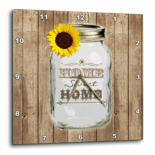 3dRose DPP_128555_2 Country Rustic Mason Jar with Sunflower Home Sweet Home Wall Clock, 13 by 13