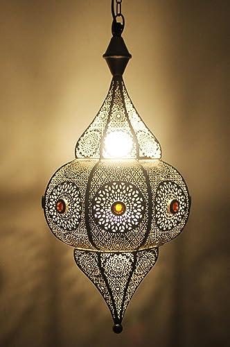 Lampe Suspension Luminaire marocaine Elif 50cm Argent E14 Douille | Plafonnier Lustre de Salon marocain oriental | Lanterne électrique indienne