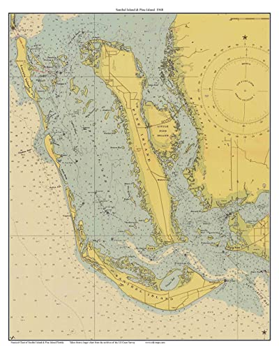 Amazon.com: Sanibel Island & Pine Island 1948 Nautical Map Florida ...