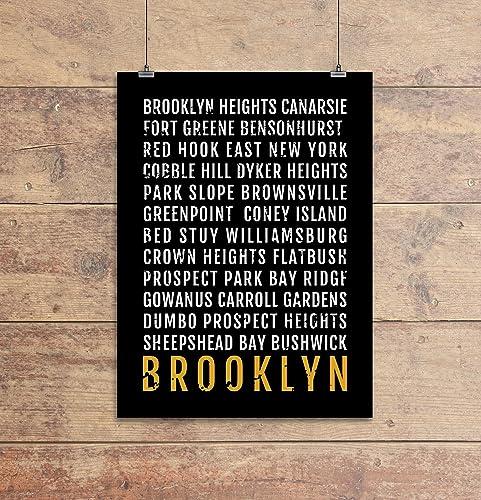 Brooklyn Heights Subway Map.Amazon Com Brooklyn Print Neighborhoods Subway Sign Poster