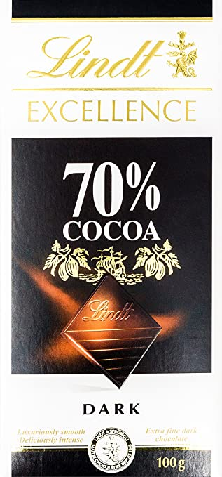 Amazon.com : Lindt Excellence 70% Cocoa Dark Chocolate 100g ...
