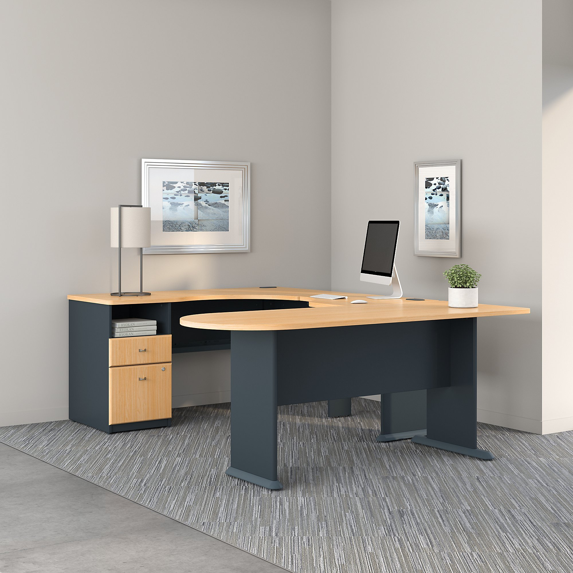 Series A U Shaped Corner Desk with Peninsula and Storage in Beech and Slate by Bush Business Furniture