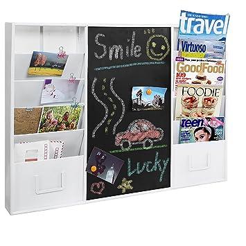Modern Wall Mounted White Metal Memo Message Chalkboard / 10 Slot Document  Organizer U0026 Mail Sorter