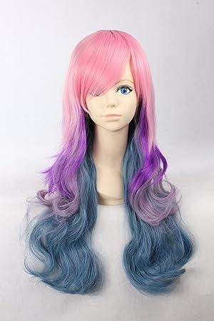 Gradiente de color peluca Lolita peluca rosa y púrpura azul largo y rizado con flequillo peluca