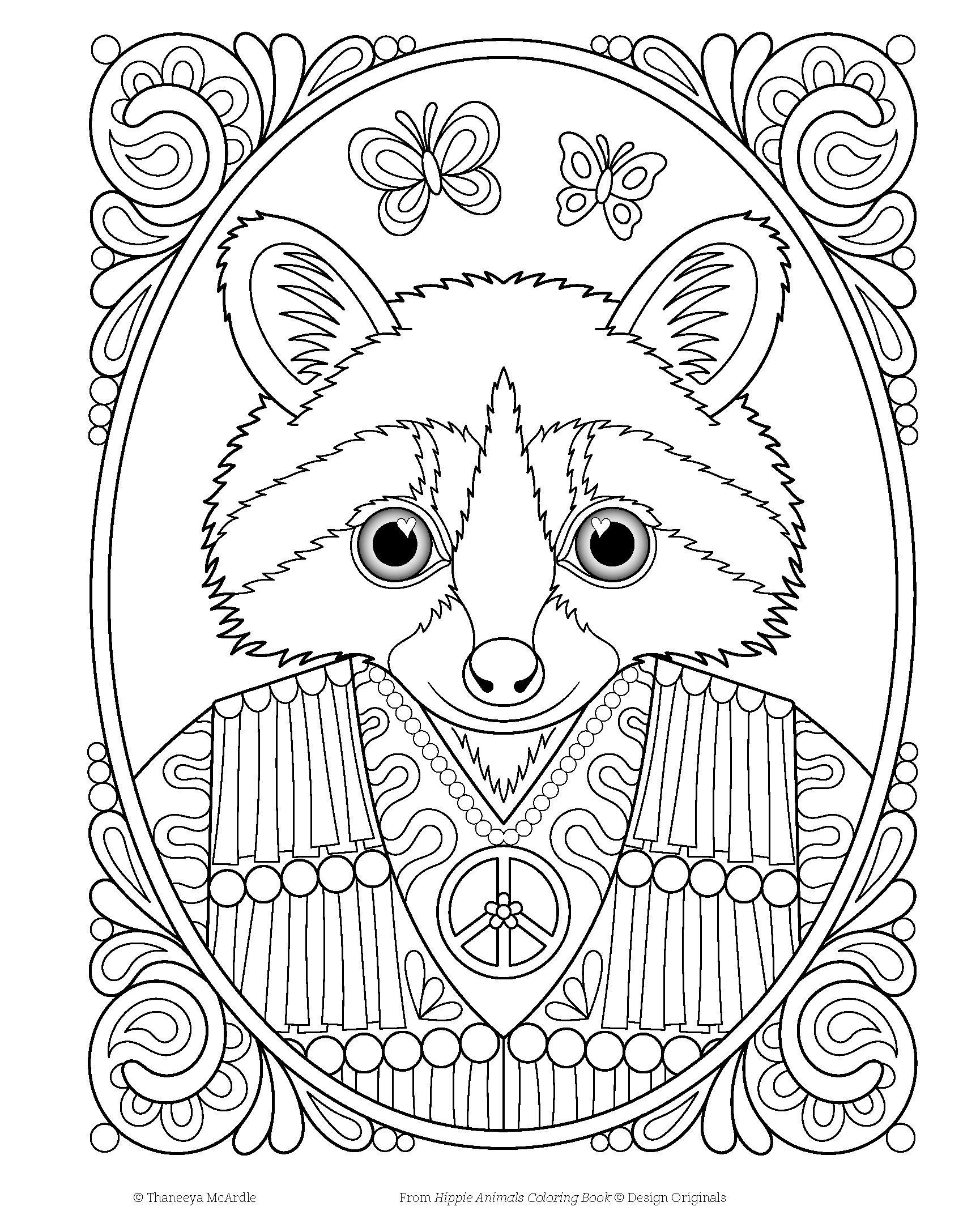 Hippie Animals Coloring Book Amazonca Thaneeya McArdle Books