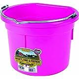 Miller Manufacturing P8FBHOTPINK Plastic Flat Back Bucket for Horses, 8-Quart, Pink