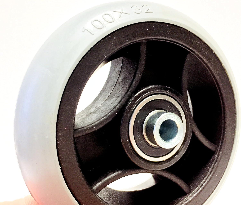 Nabenl/änge 45 mm Vollgummi Bohrung 8 mm 2 St/ück Rollstuhlreifen pannensicher 100 x 32 Komplettr/äder Reifen mit Felge und Rollstuhl Kugellager Glattprofil 100/% pannengesch/ützt grau