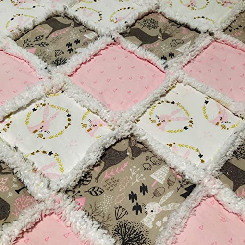 Baby girl quilt Pink and brown baby quilt Hand quilted and Hand made baby quilt Hand quilted baby quilt