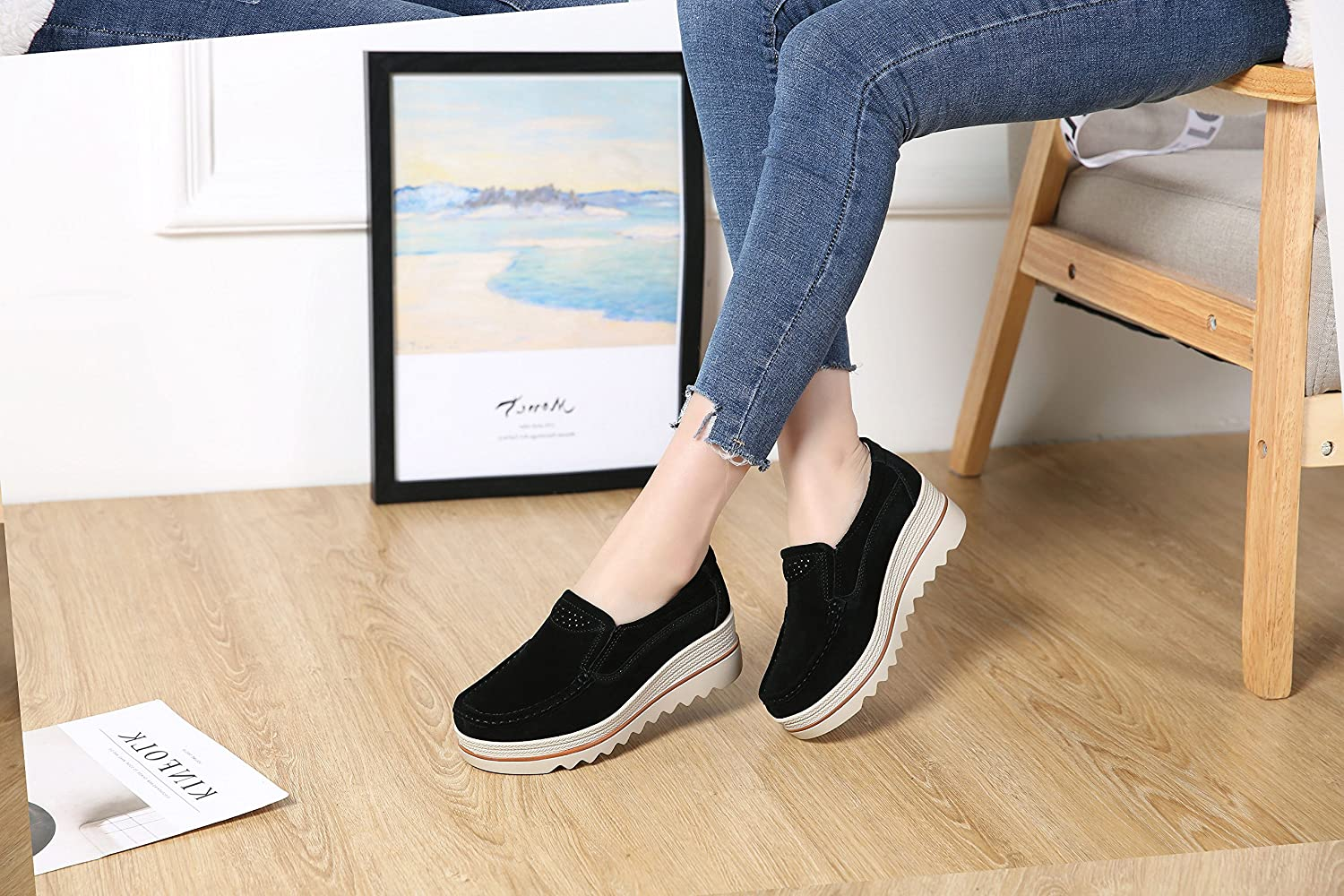 Dhiuow Platform Shoes Women Slip on Loafers Suede Wedge Shoes Comfortable Sneakers for Ladies B07BXMCQSQ 7.5 B(M) US|Black#1